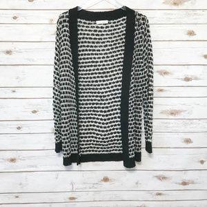 Love Tree open front sweater white & black knit